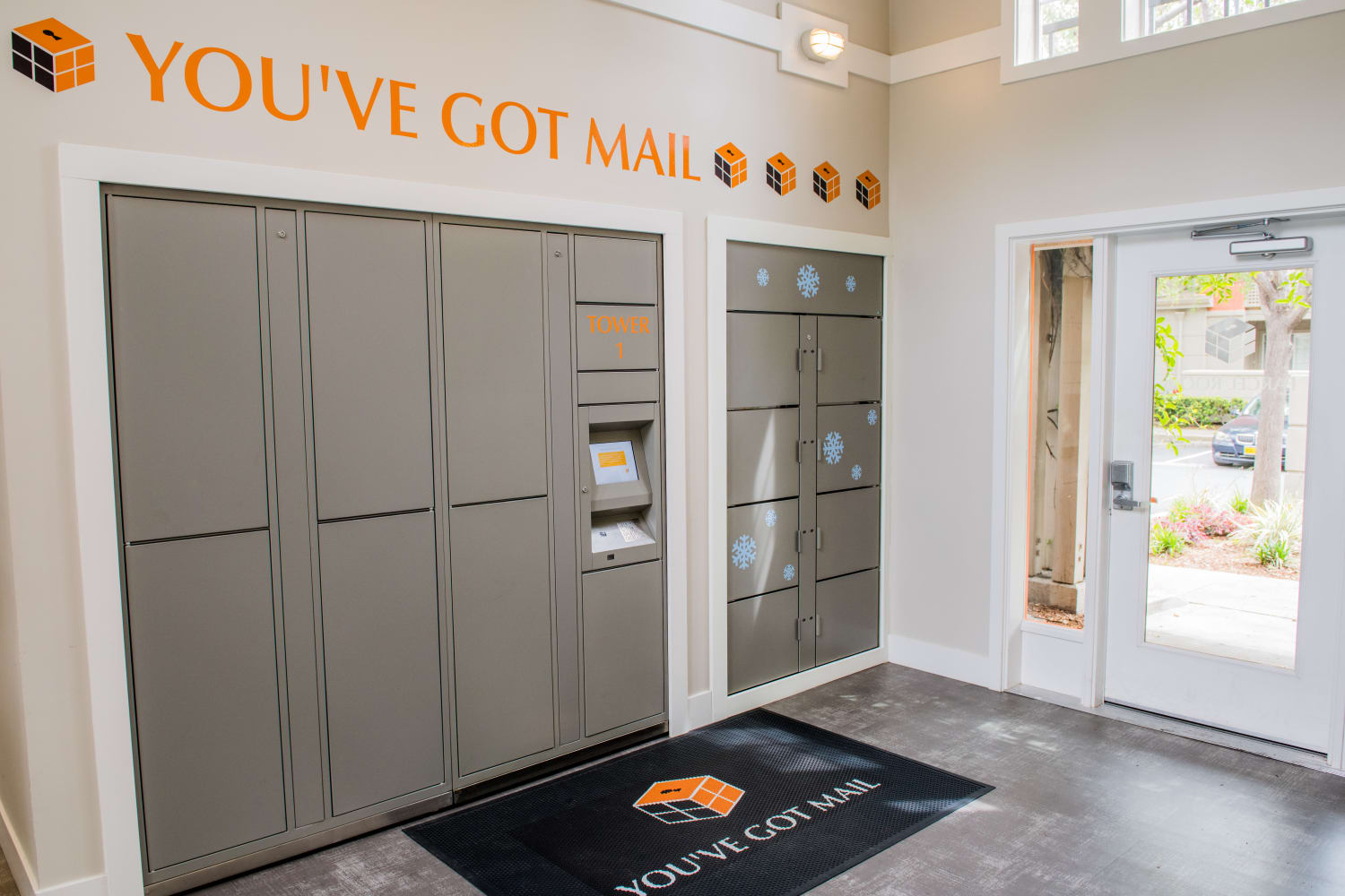 Mail room at Bella Vista Apartments in Santa Clara, California