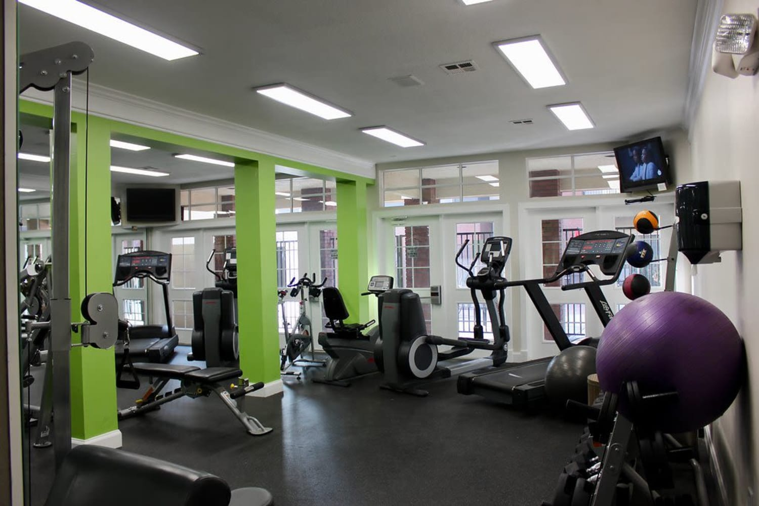 Fitness equipment at Irving Schoolhouse Apartments in Salt Lake City, Utah