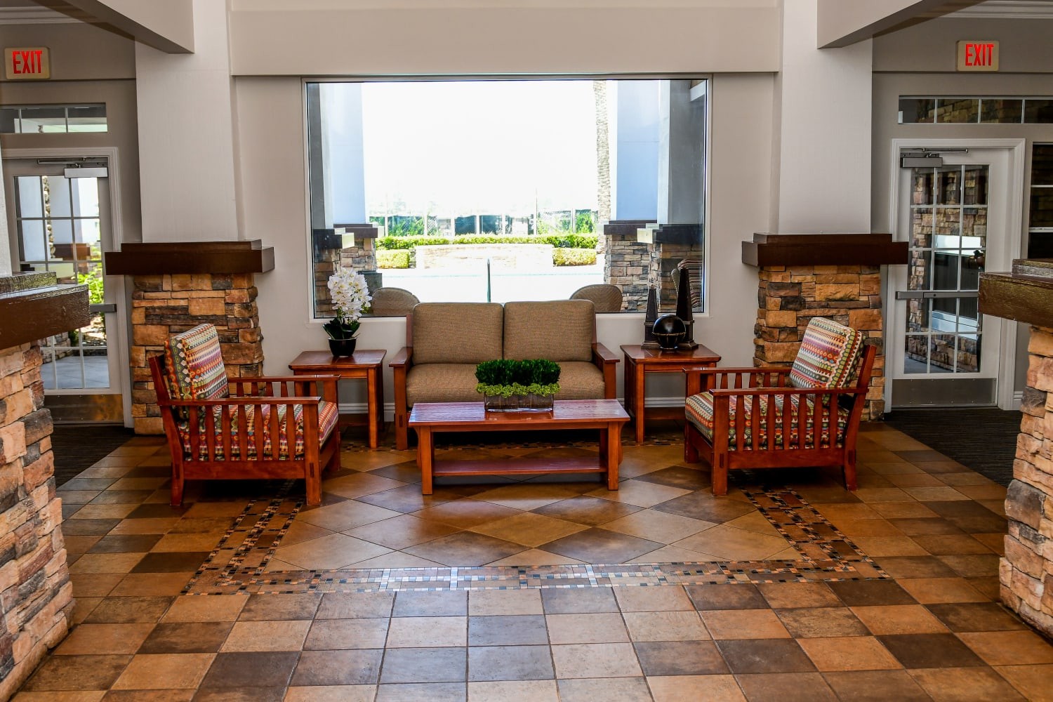 Welcoming community area at Village on the Green in Rancho Cucamonga, California