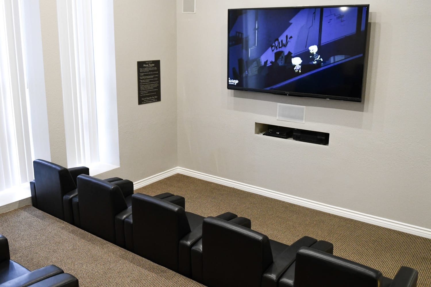 Movie theater at Parcwood Apartments in Corona, California