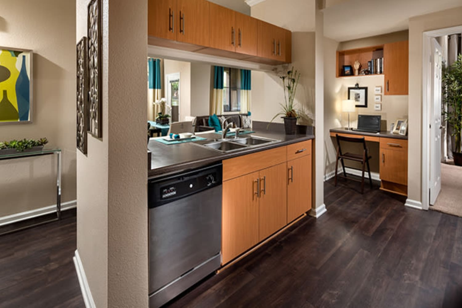 Open concept kitchen at Links at Westridge in Valencia, California