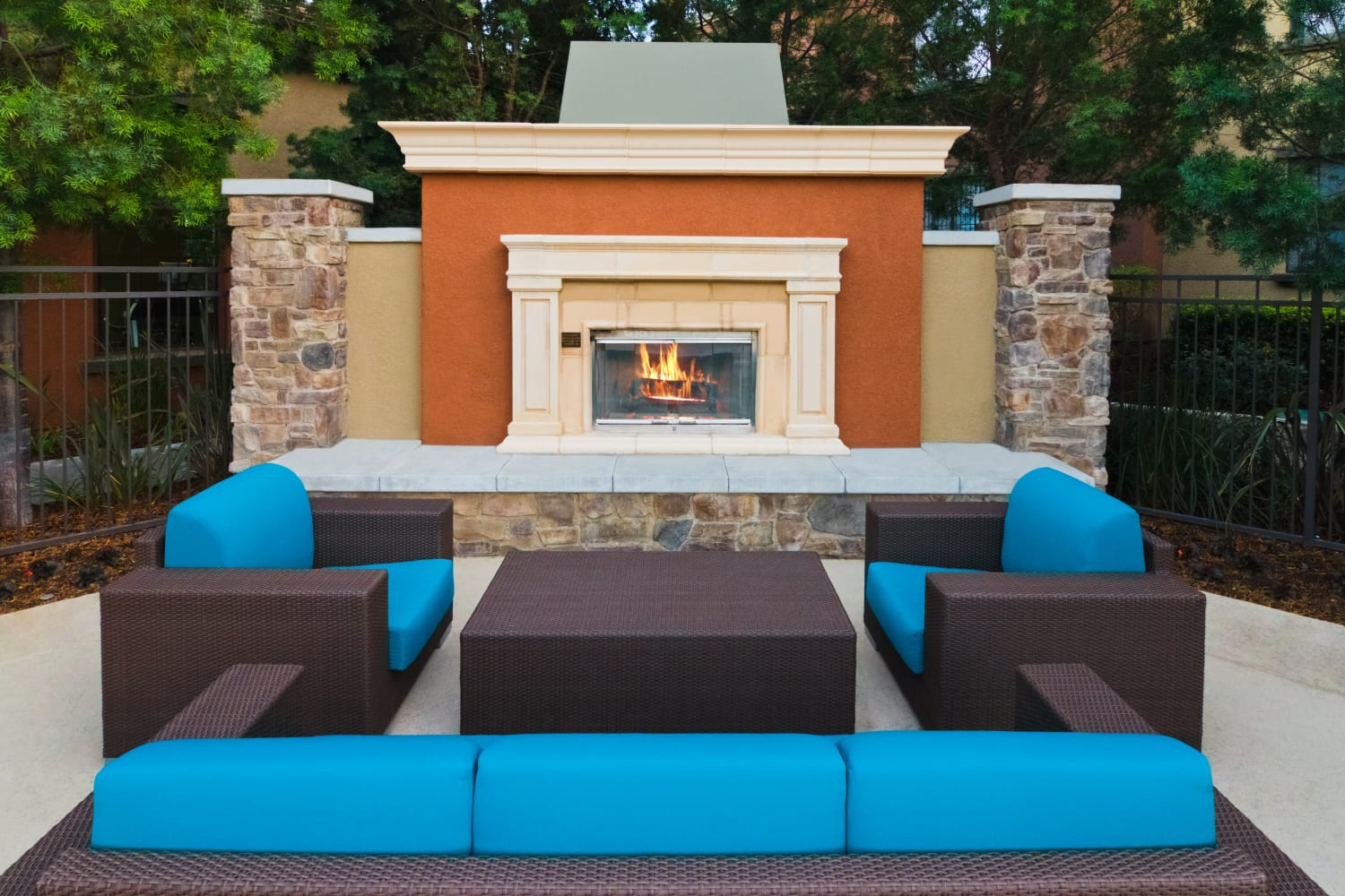 Outdoor fireplace at Links at Westridge in Valencia, California
