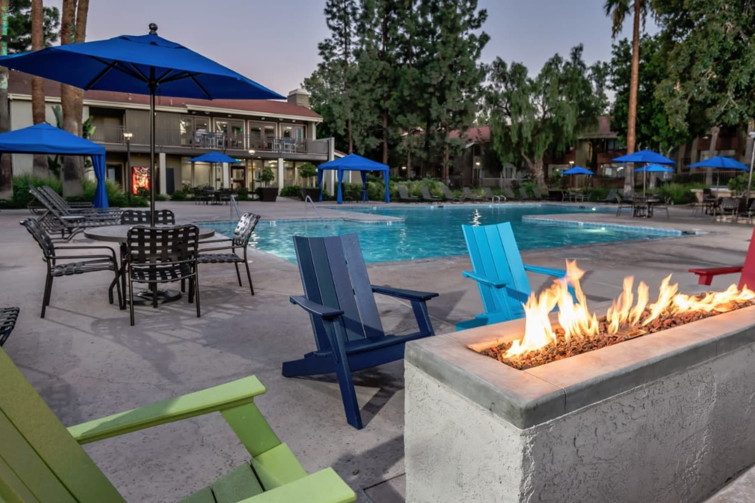 Fire pit at Parcwood Apartments in Corona, California