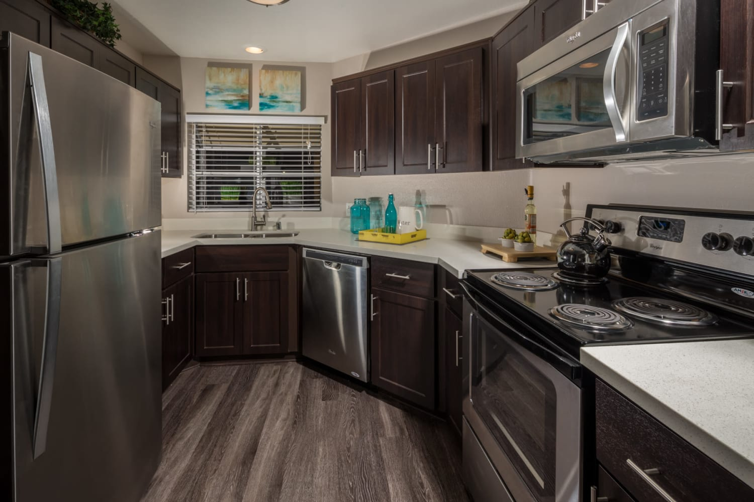 Spacious kitchen area at Sierra Heights Apartments in Rancho Cucamonga, California