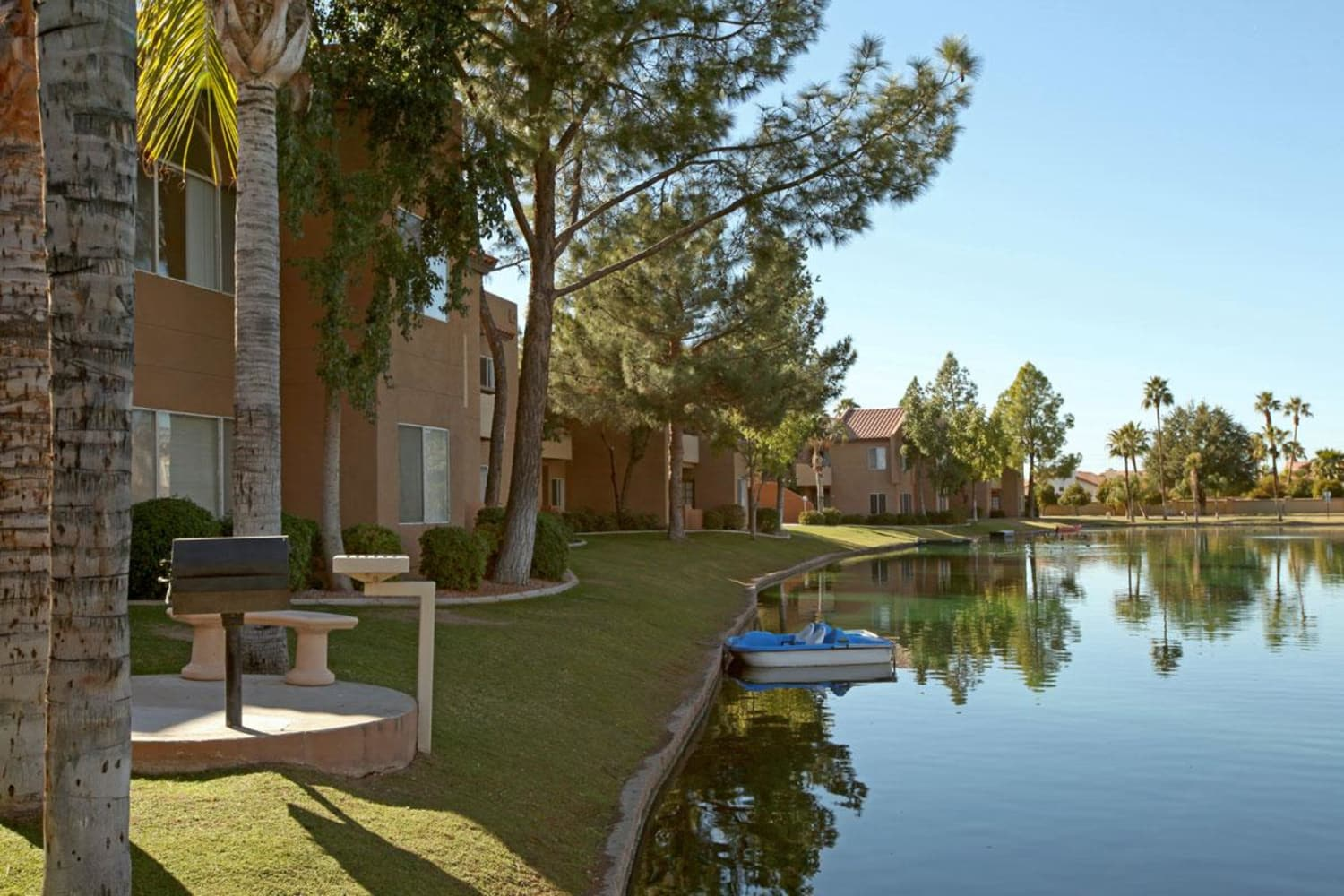 Large private lake at Alcove at the Islands in Gilbert, Arizona