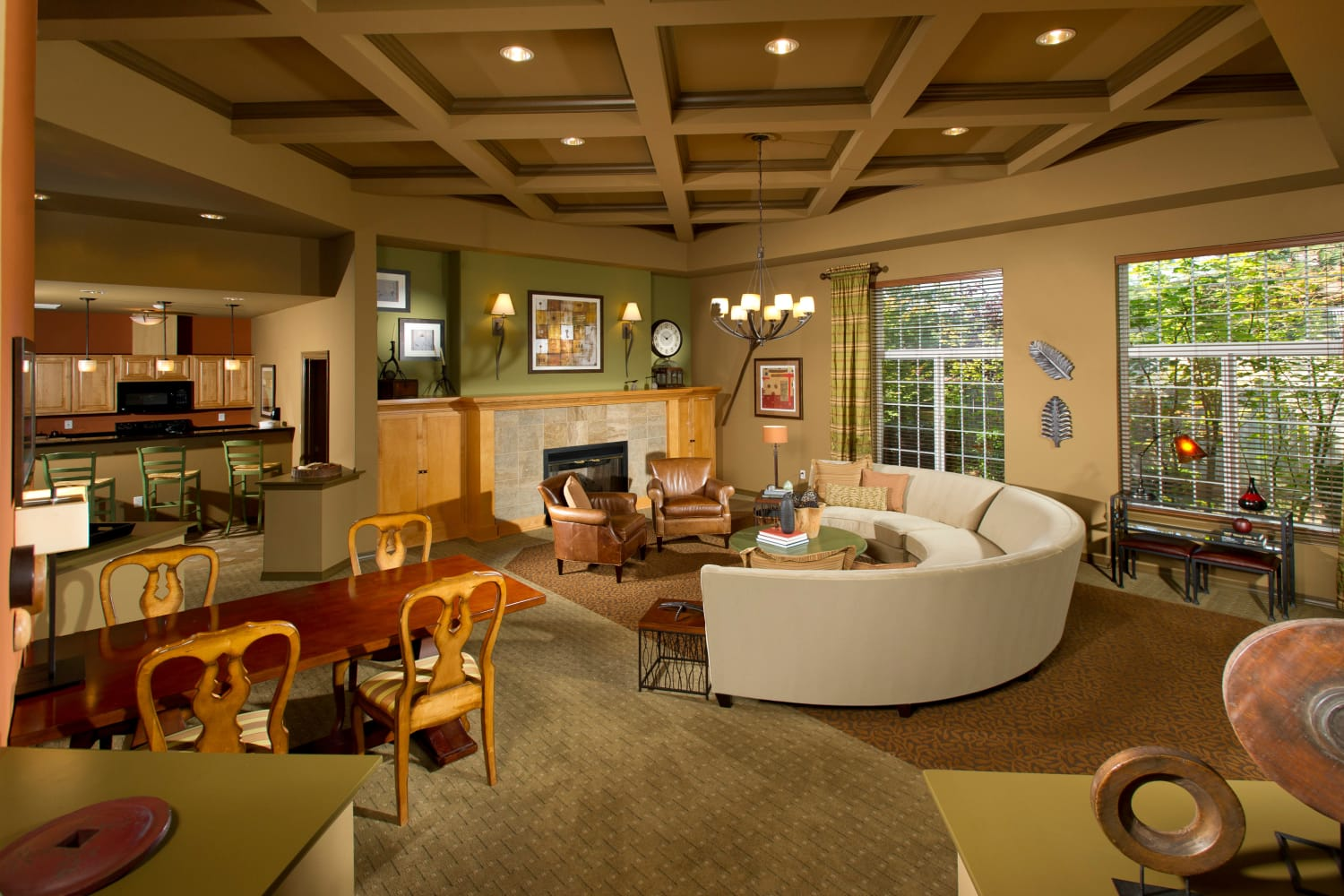 Spacious living area at The Knolls at Inglewood Hill in Sammamish, Washington