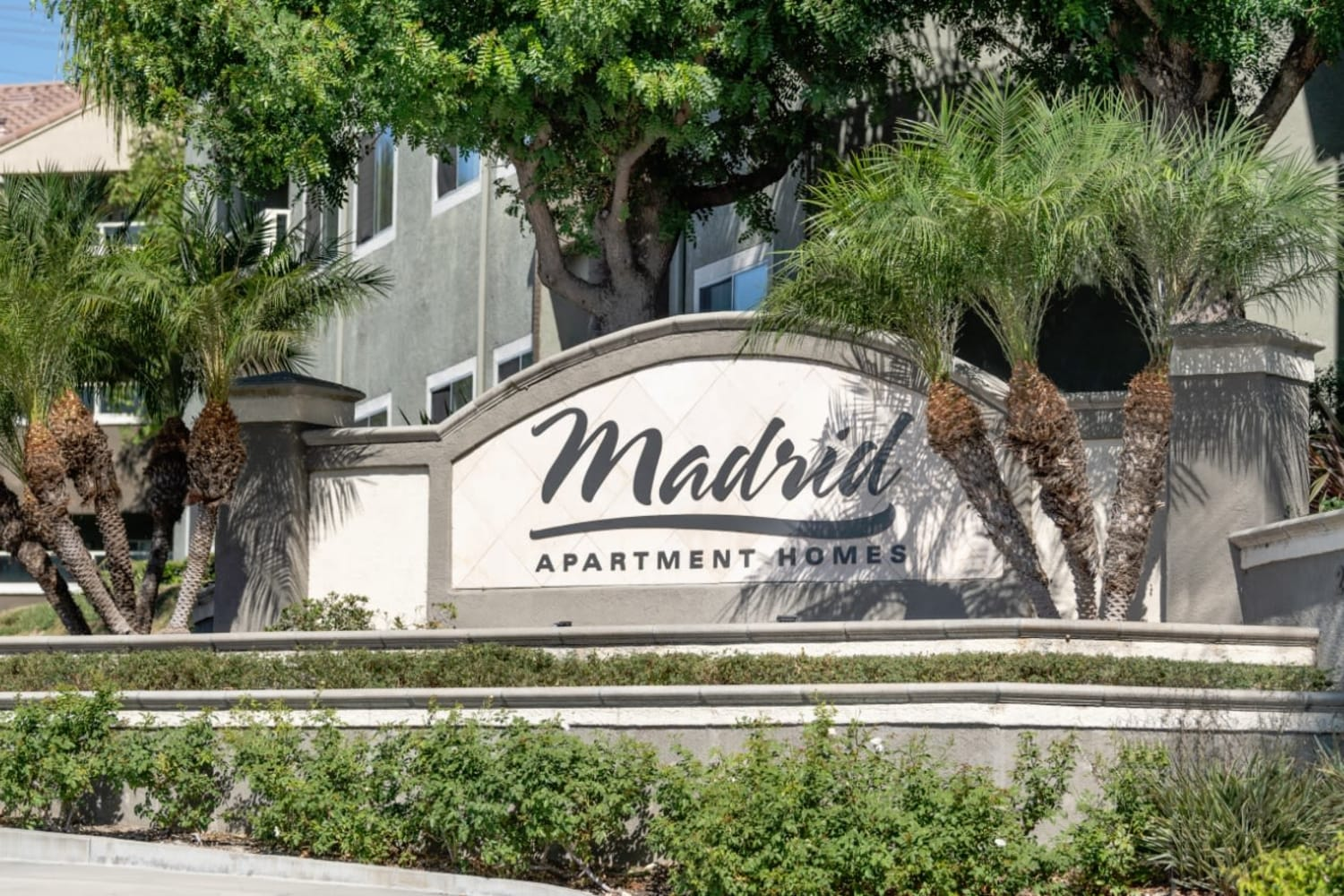 Madrid Apartments front entrance sign in Mission Viejo, California