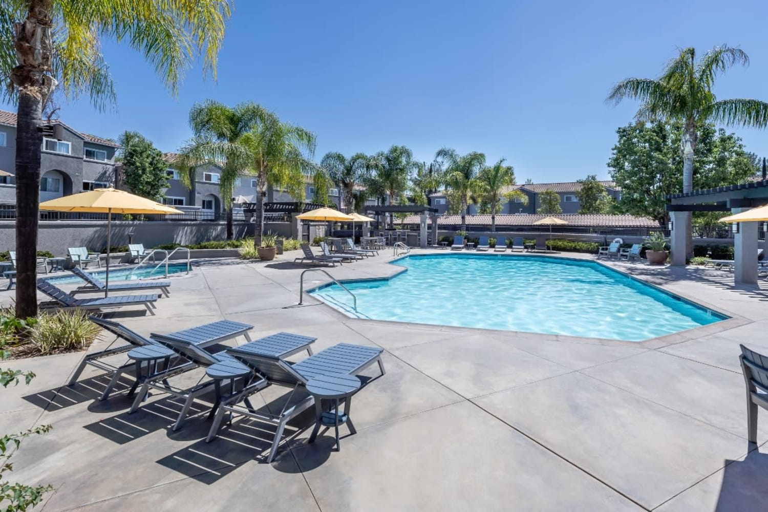 Resort style pool at Madrid Apartments in Mission Viejo, California