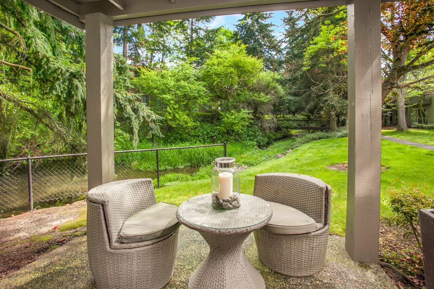 Your own private patio at The VUE in Kirkland, Washington