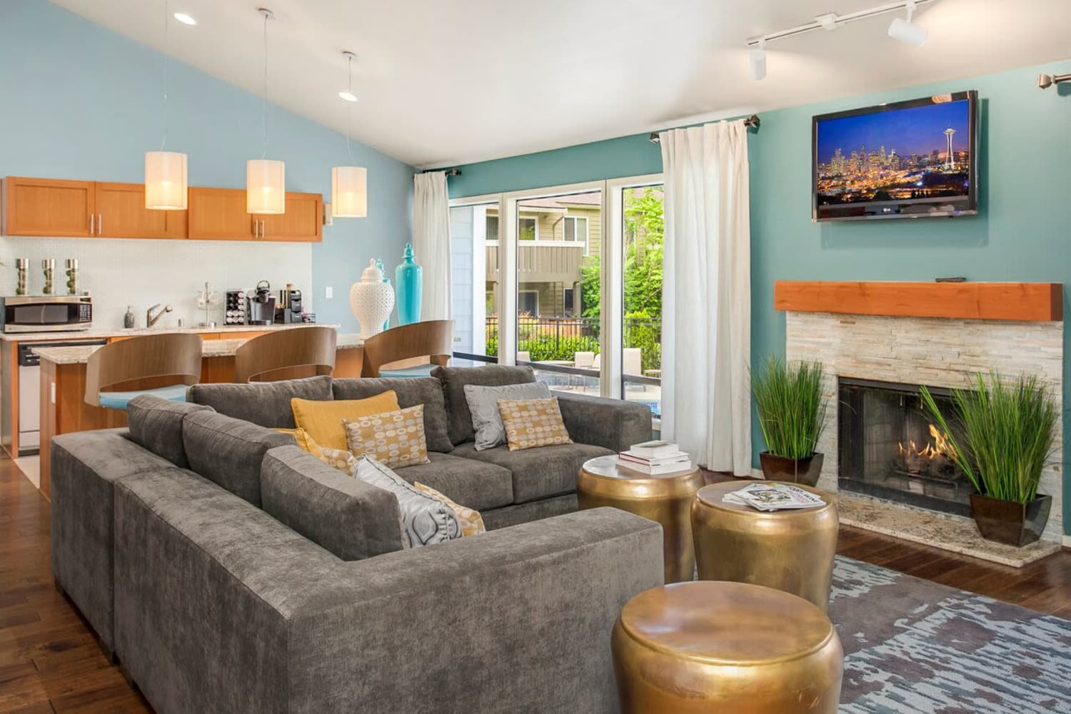 Bright living room with high ceilings at The VUE in Kirkland, Washington