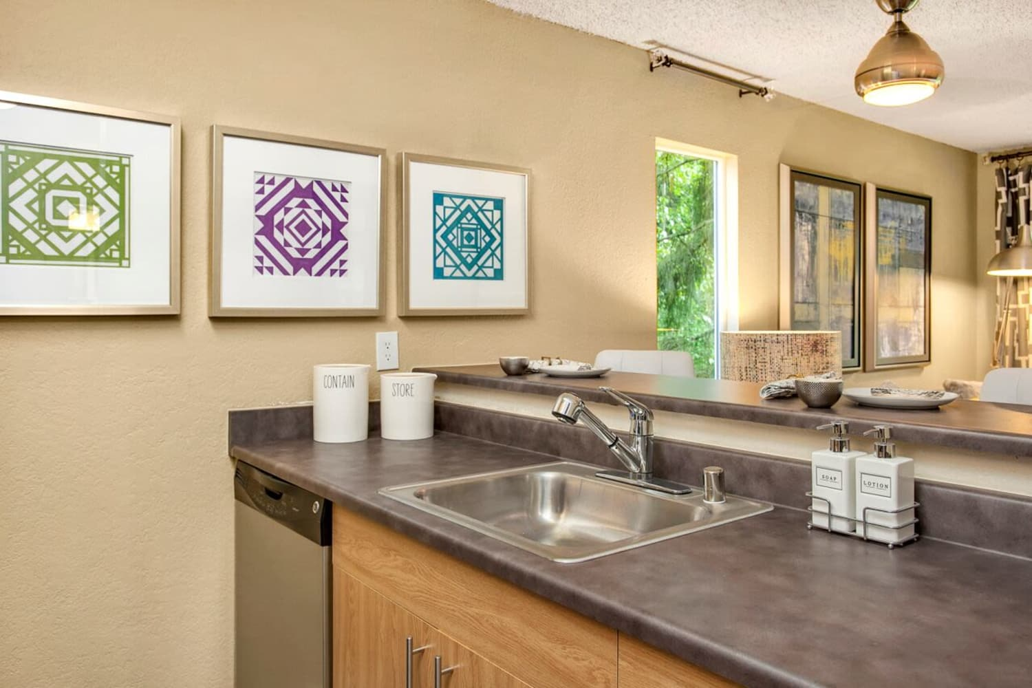 Modern kitchen to suit your needs at The VUE in Kirkland, Washington
