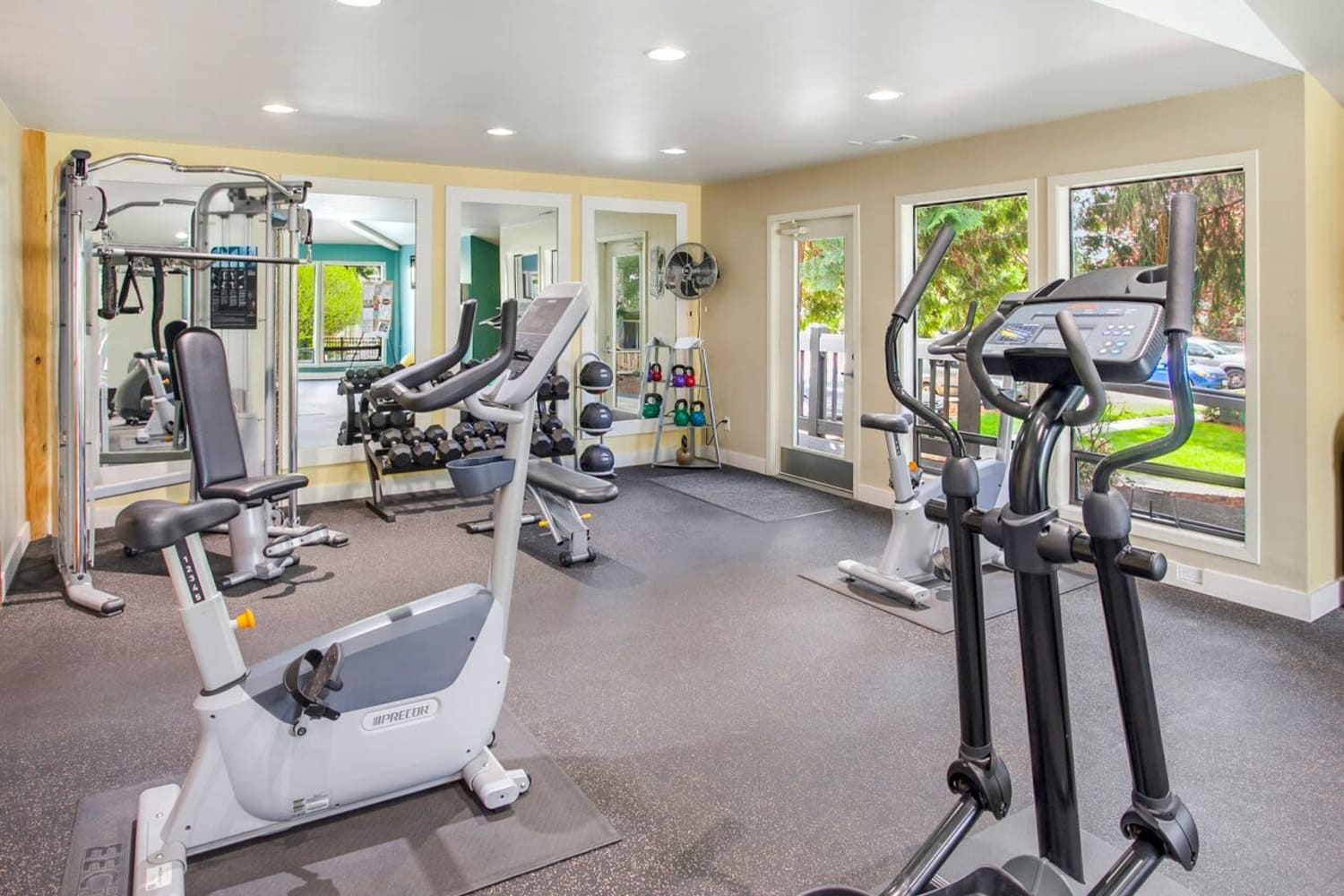 Fitness equipment at The VUE in Kirkland, Washington