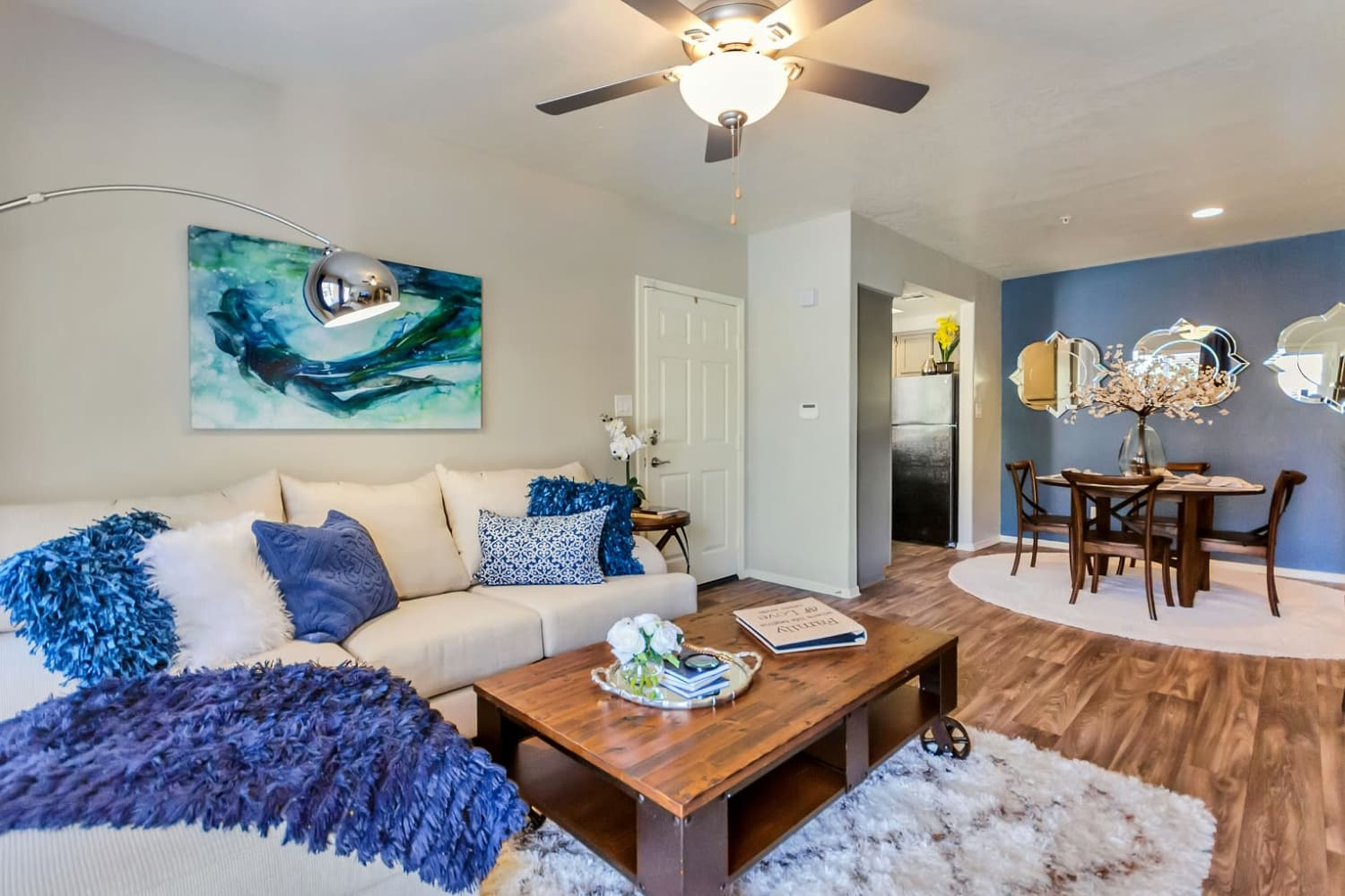 Open concept living room at Alcove at the Islands in Gilbert, Arizona