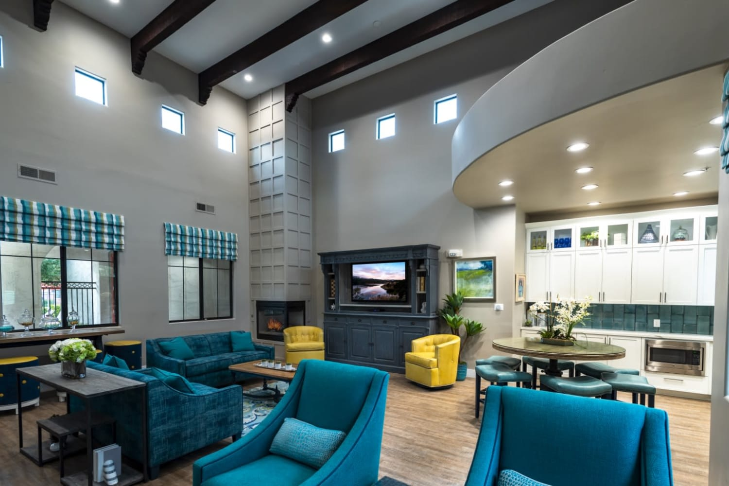 Enjoy the clubhouse television room at Dobson 2222 in Chandler, Arizona