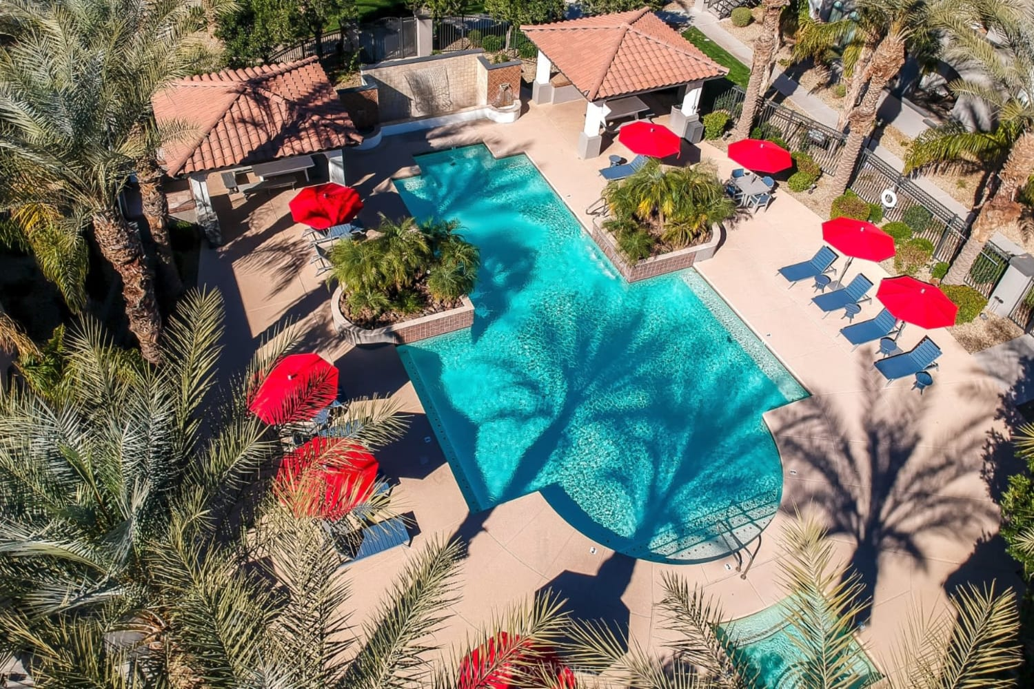 Aerial view of sparkling swimming pool at Dobson 2222 in Chandler, Arizona