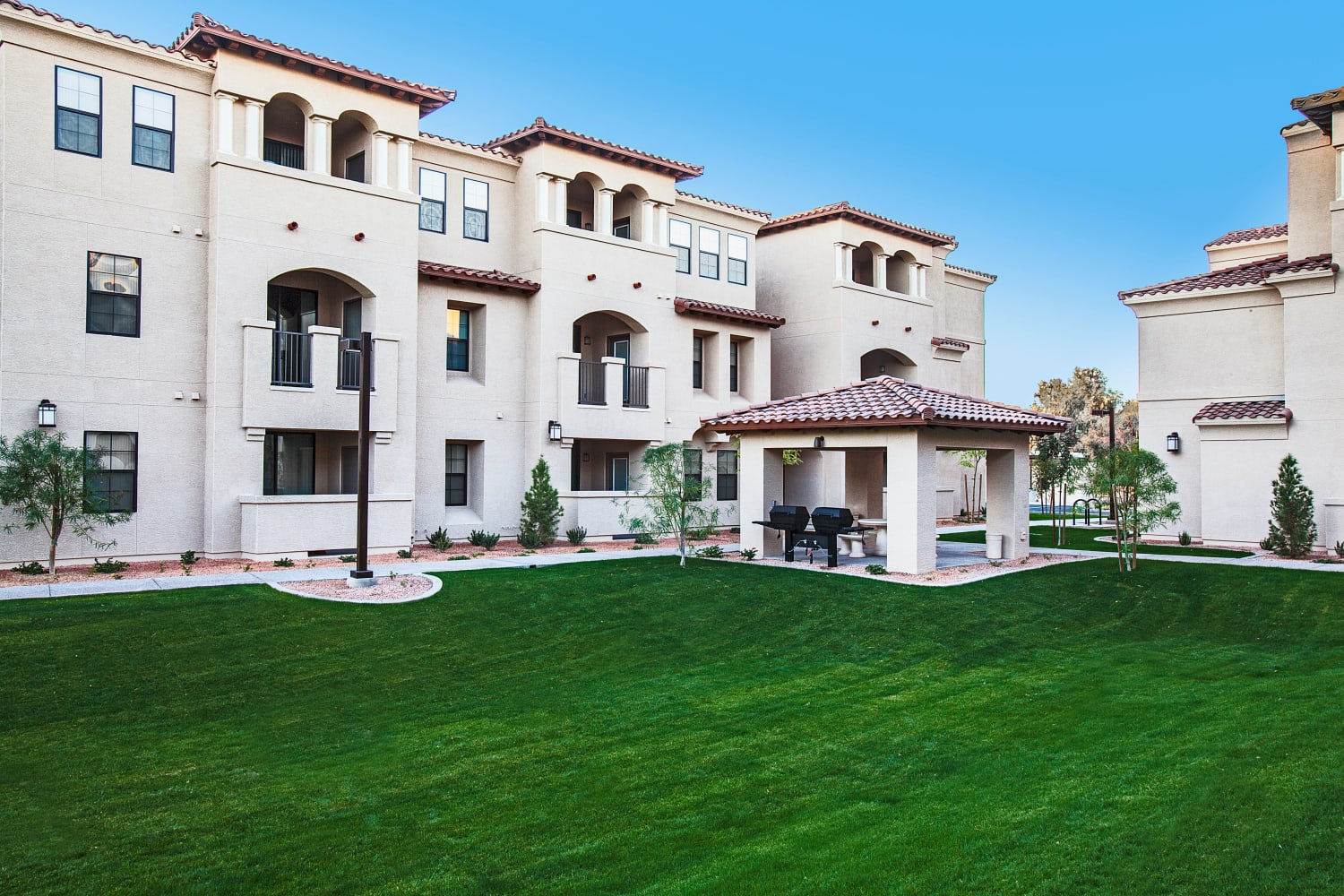 Enjoy lush, green grass outside of San Marquis in Tempe, Arizona