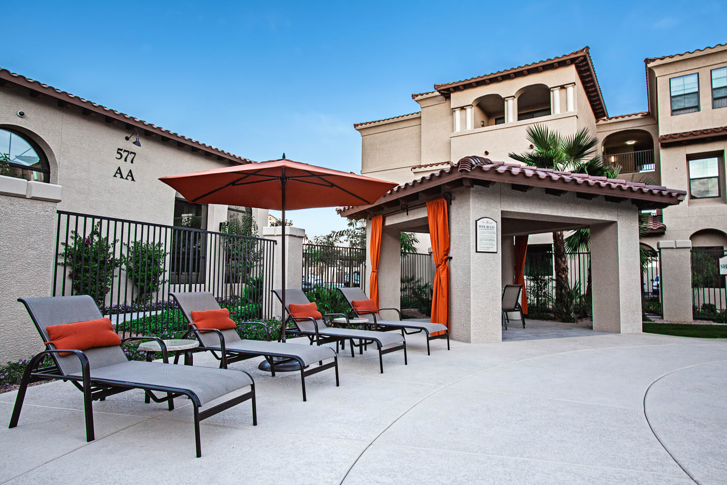 Enjoy relaxing by the pool at San Marquis in Tempe, Arizona