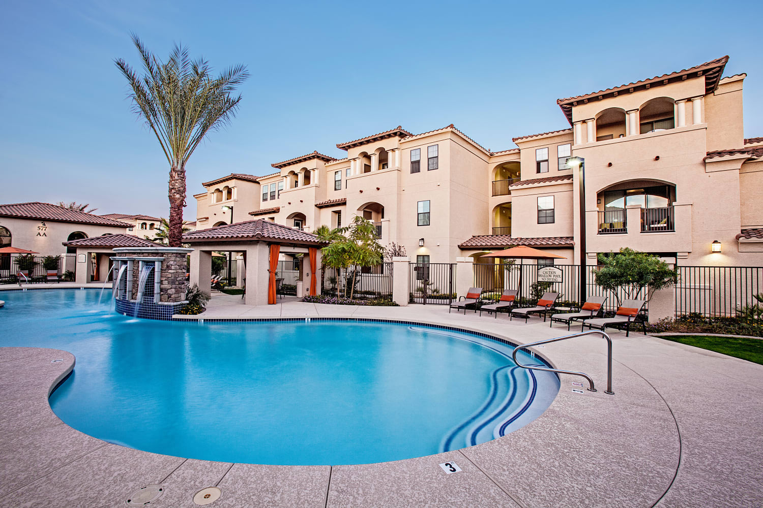 Enjoy access to a luxurious pool at San Marquis in Tempe, Arizona