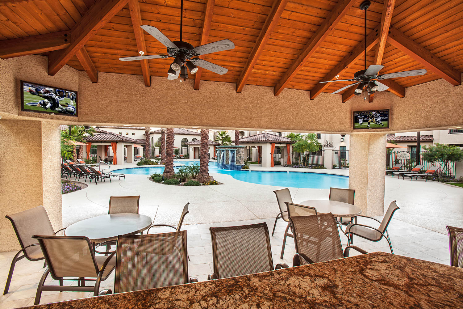 Hang out and relax in the poolside clubhouse at San Marquis in Tempe, Arizona