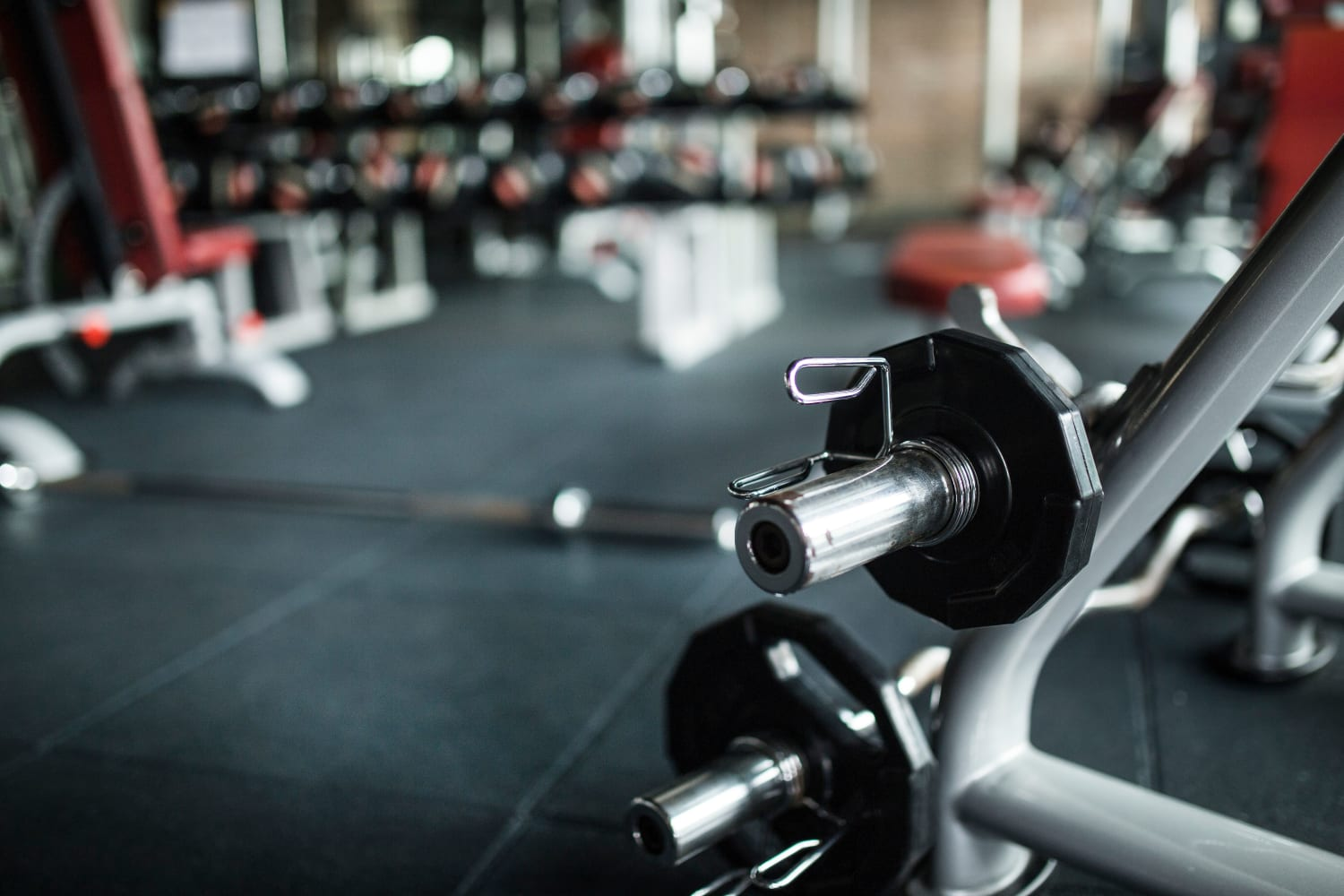 Fitness center with free weights at San Marquis in Tempe, Arizona