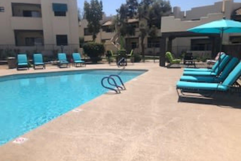 Swimming pool at Casa Santa Fe Apartments in Scottsdale, Arizona