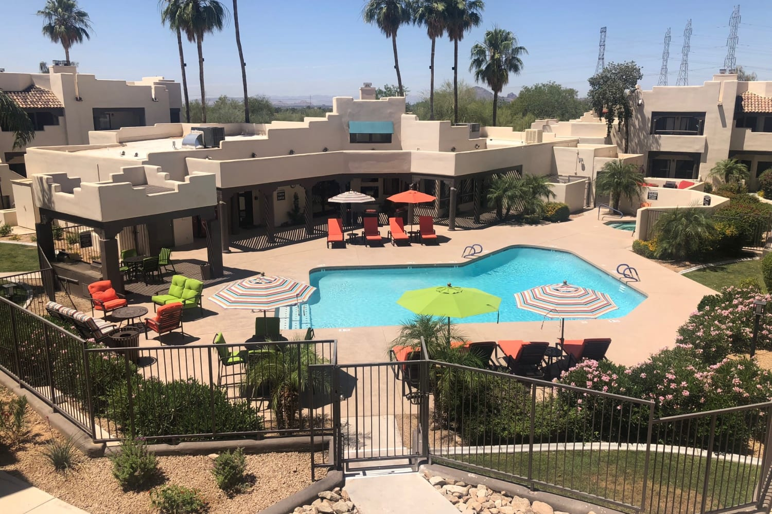Aerial view of the pool area at Casa Santa Fe Apartments in Scottsdale, Arizona