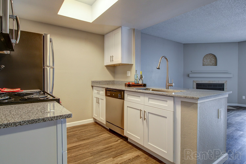 Open concept kitchen at Casa Santa Fe Apartments in Scottsdale, Arizona