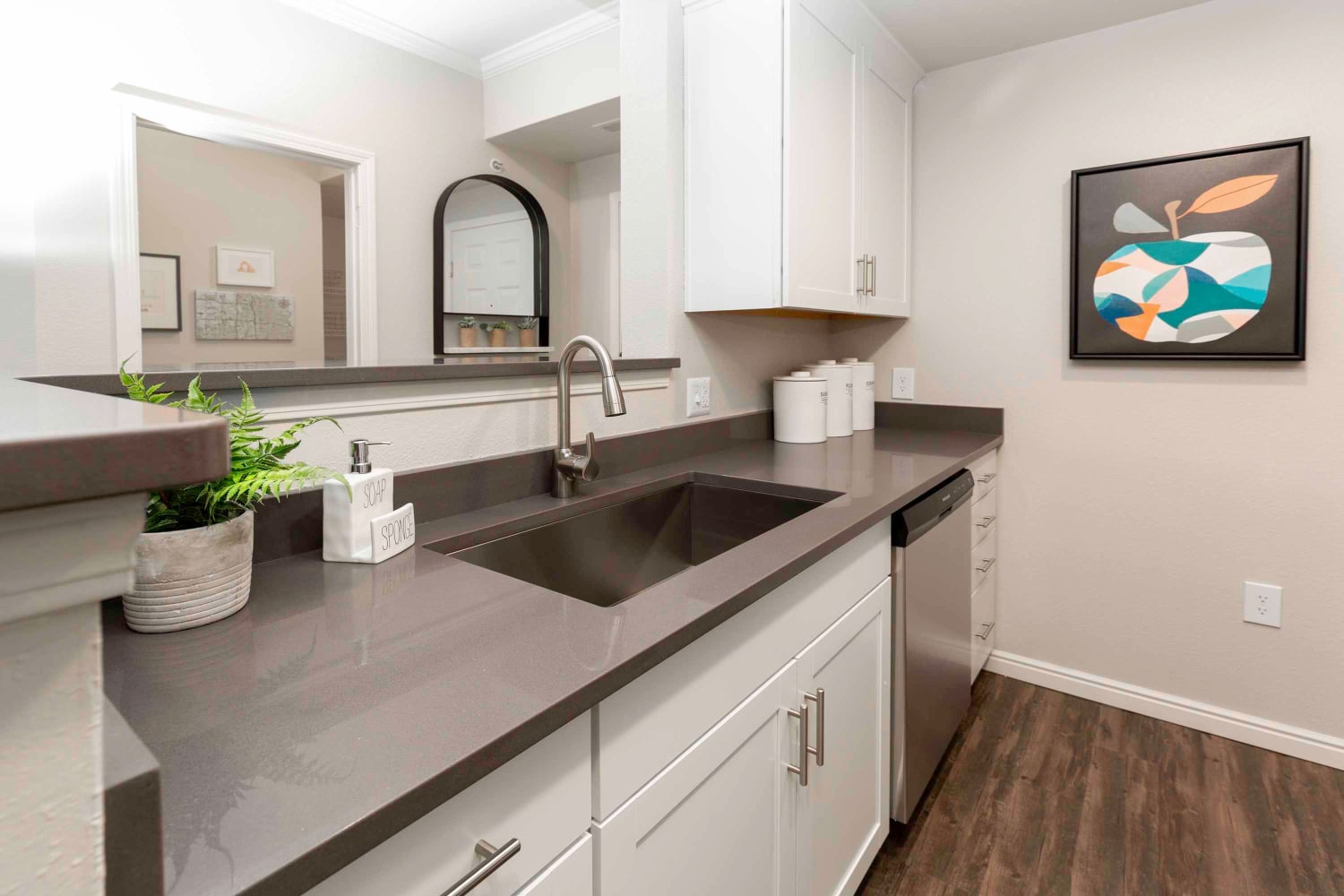 Modern kitchen at Irving Schoolhouse Apartments in Salt Lake City, Utah