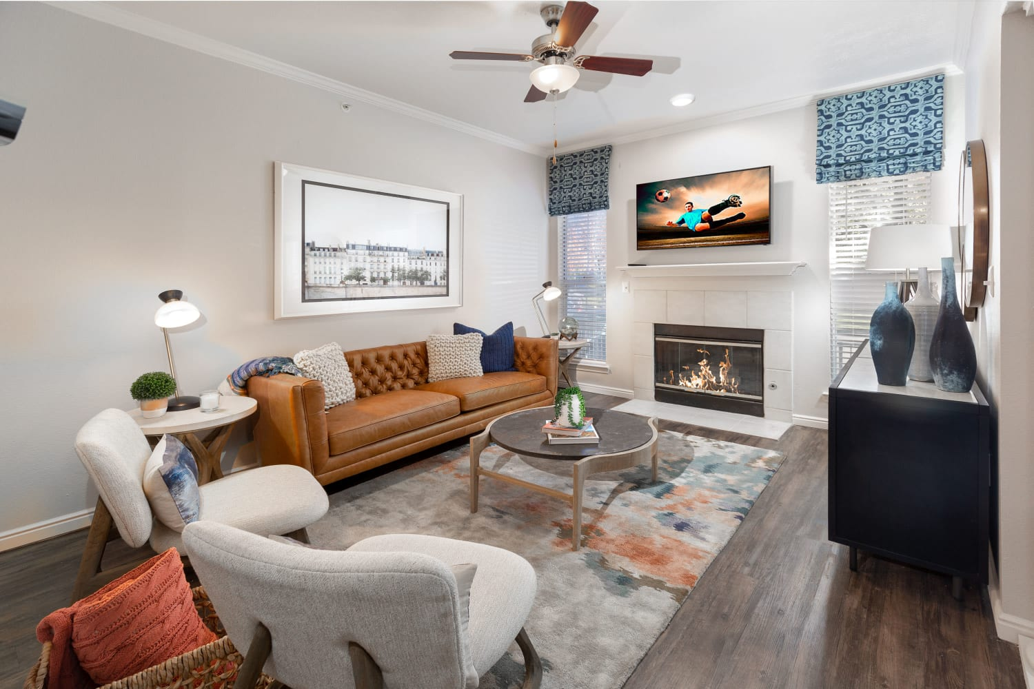 Enjoy your new living room at Irving Schoolhouse Apartments in Salt Lake City, Utah