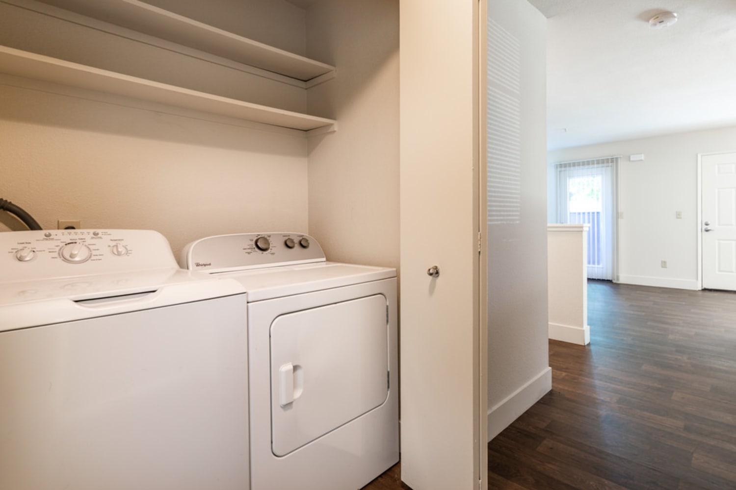 Washer and dryer in unit at La Vina Apartments in Livermore, California