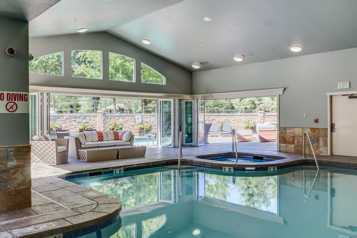 Beautiful indoor pool at The Preserve at Forbes Creek in Kirkland, Washington