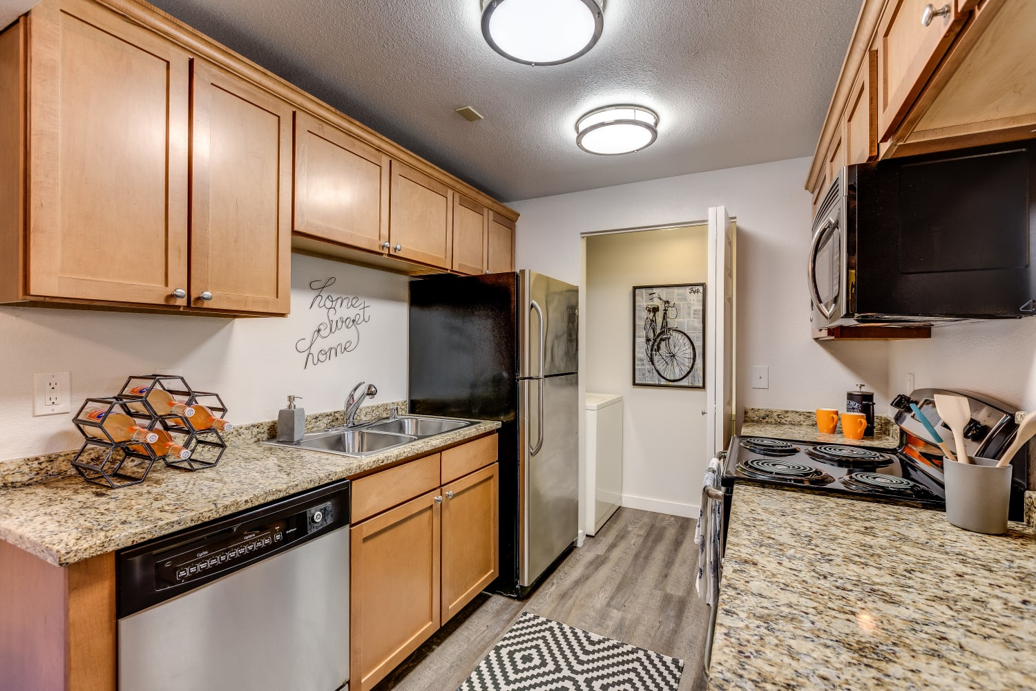 Clean and modern kitchen at The Preserve at Forbes Creek in Kirkland, Washington