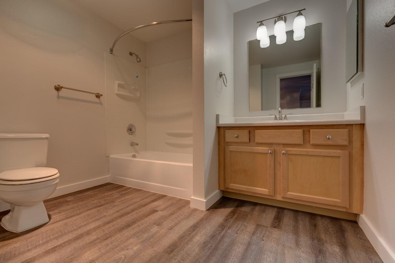 Roomy bathroom with bathtub at The Preserve at Forbes Creek in Kirkland, Washington
