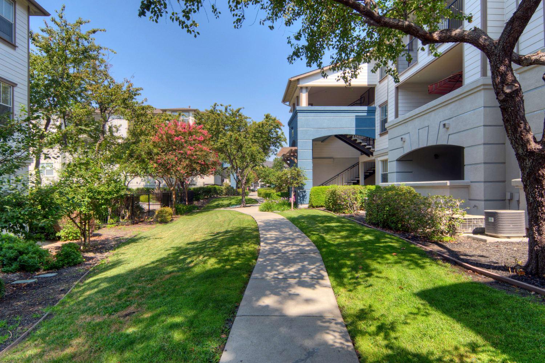 One of the many walking paths at Park Hacienda Apartments in Pleasanton, California