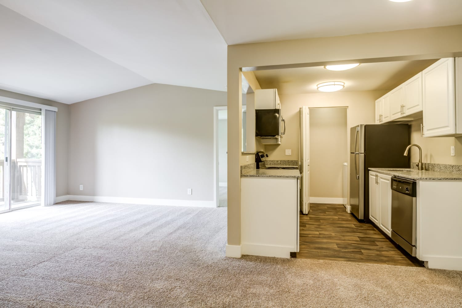 Living Room and Kitchen at Campbell Run Apartments in Woodinville, Washington