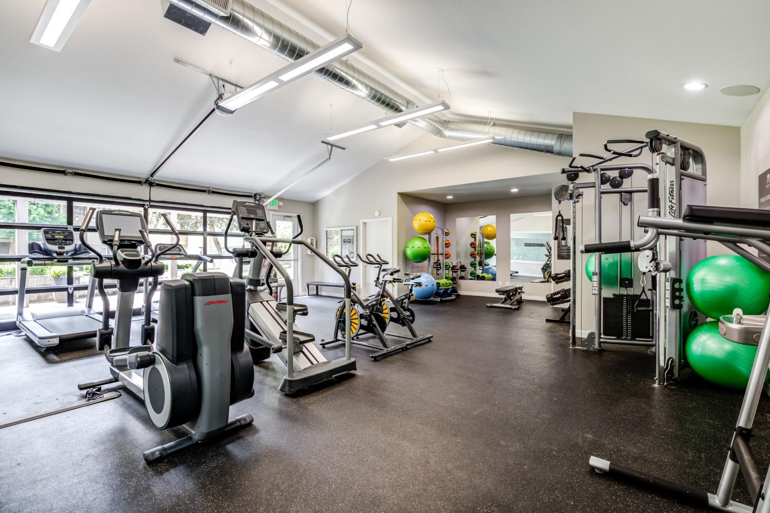 Fitness center at Campbell Run Apartments in Woodinville, Washington