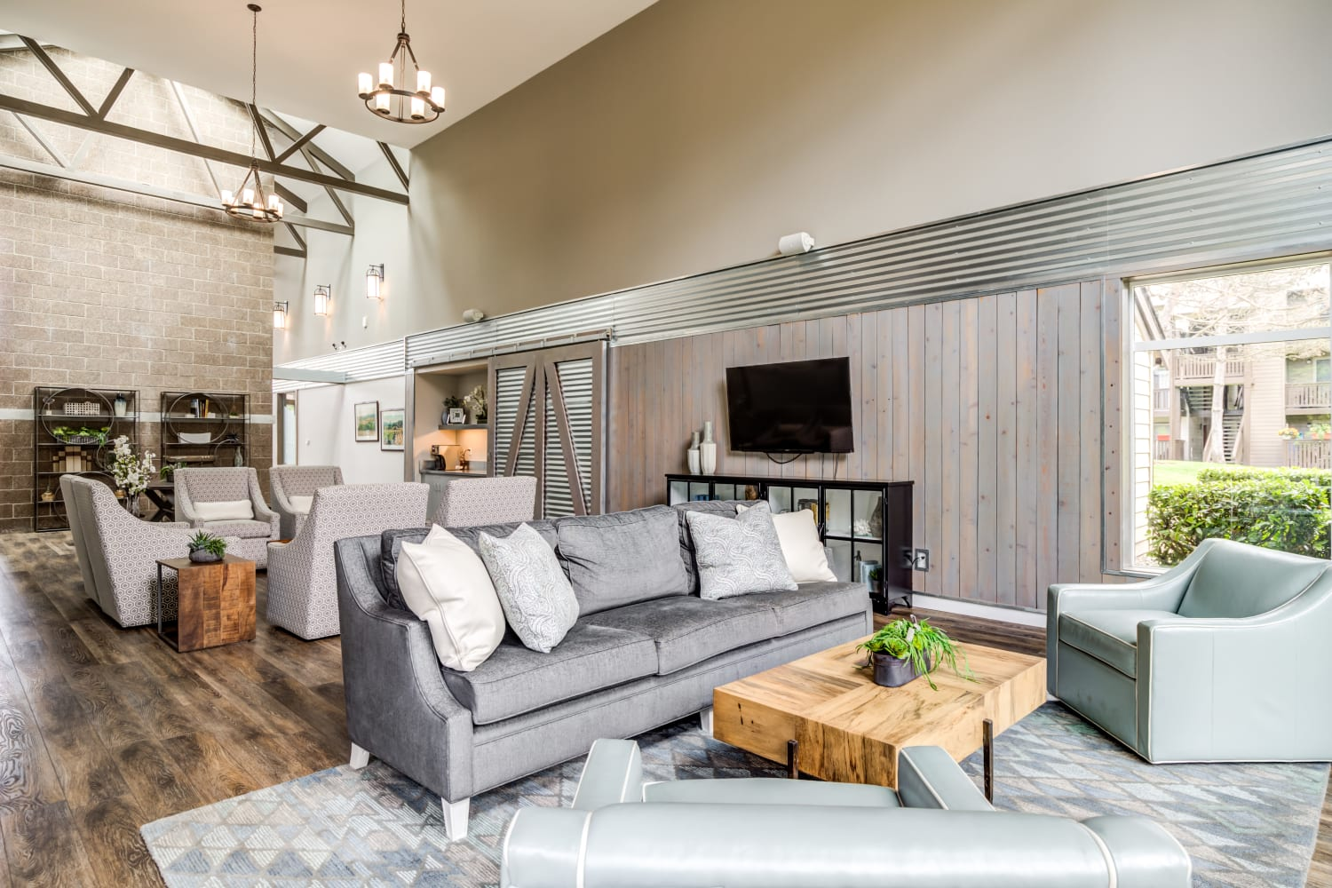 Comfortable clubhouse community space at Campbell Run Apartments in Woodinville, Washington