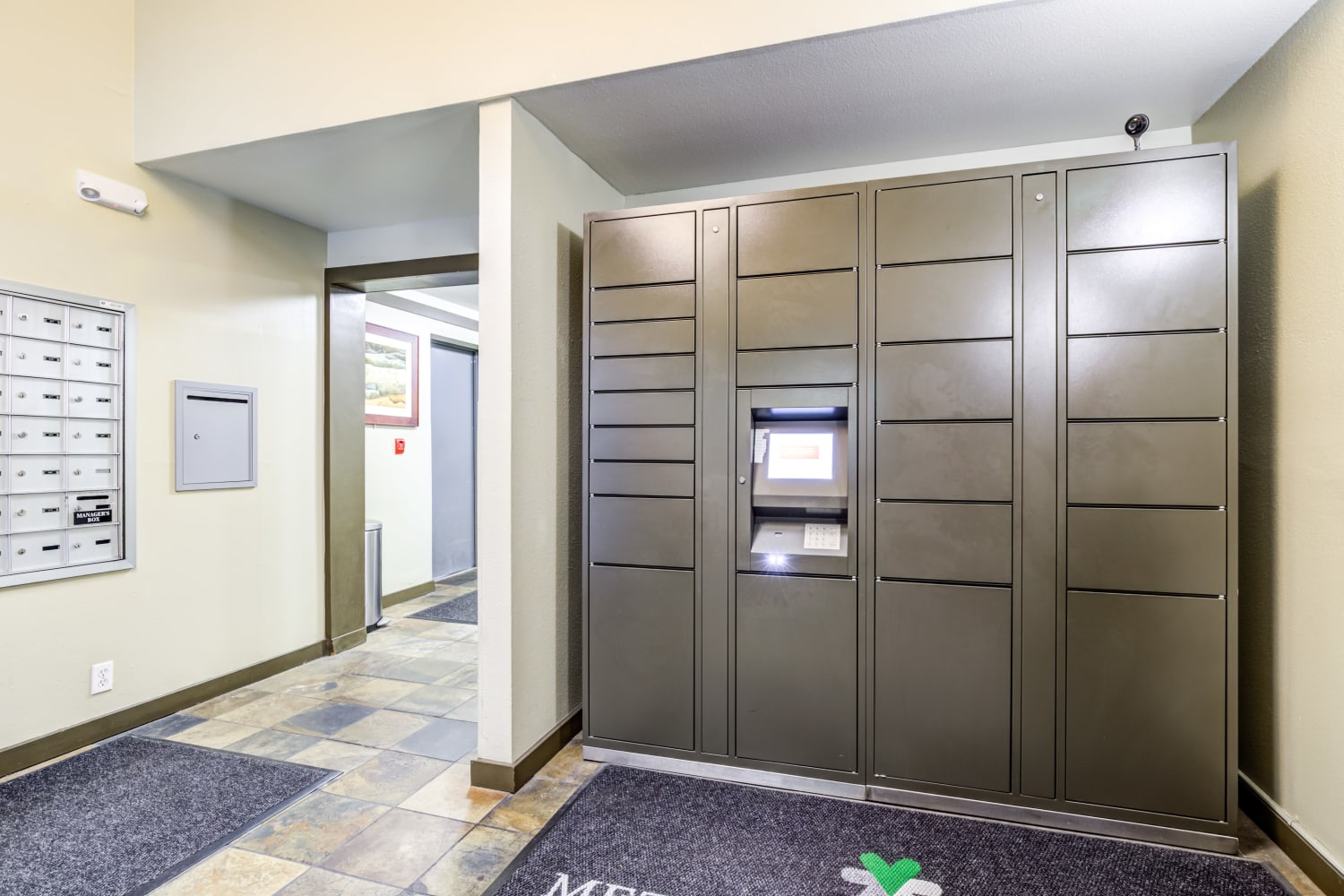 Mailroom and parcel pickup  at Metropolitan Park Apartments in Seattle, Washington