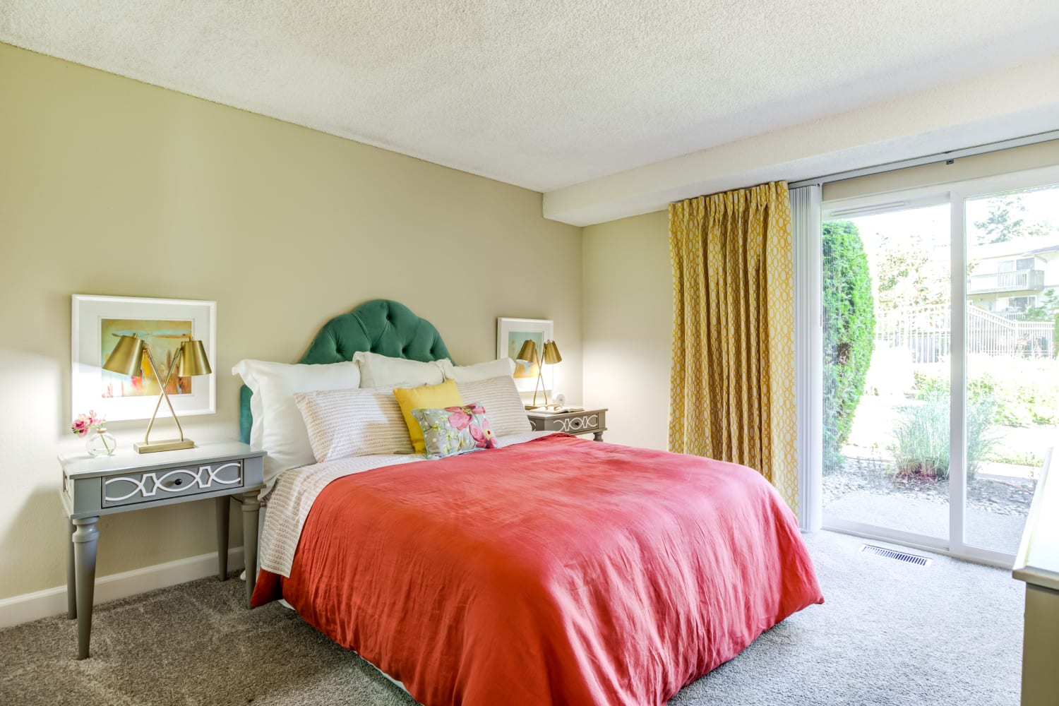Well lit and spacious bedroom at Edgewood Park Apartments in Bellevue, Washington