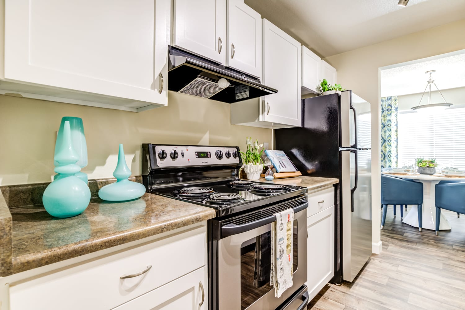 Spacious kitchen with stainless steel appliances at Edgewood Park Apartments in Bellevue, Washington