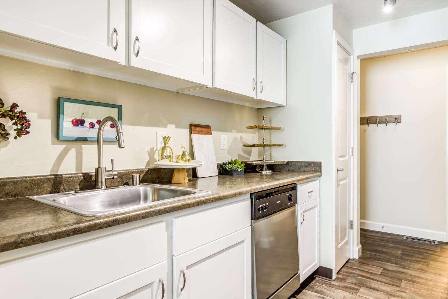 Kitchen with ample counter space at Edgewood Park Apartments in Bellevue, Washington