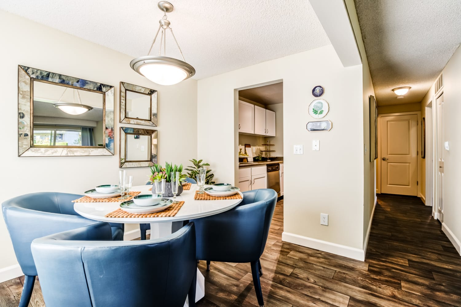 Dining space off of kitchen at Edgewood Park Apartments in Bellevue, Washington
