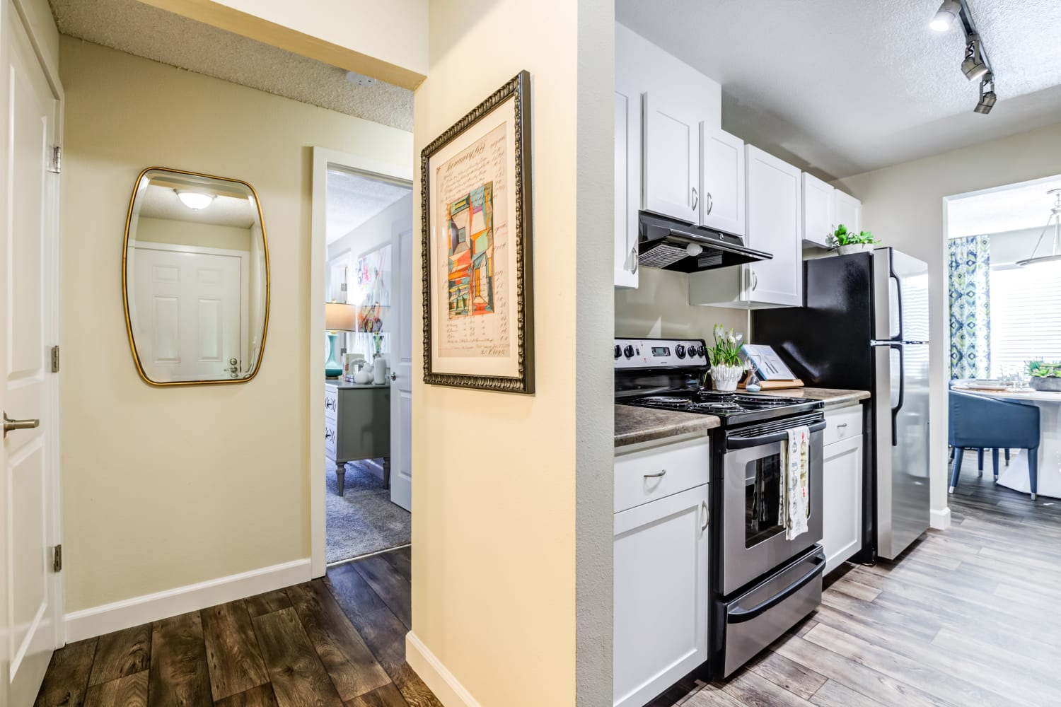 Kitchen with modern amenities at Edgewood Park Apartments in Bellevue, Washington