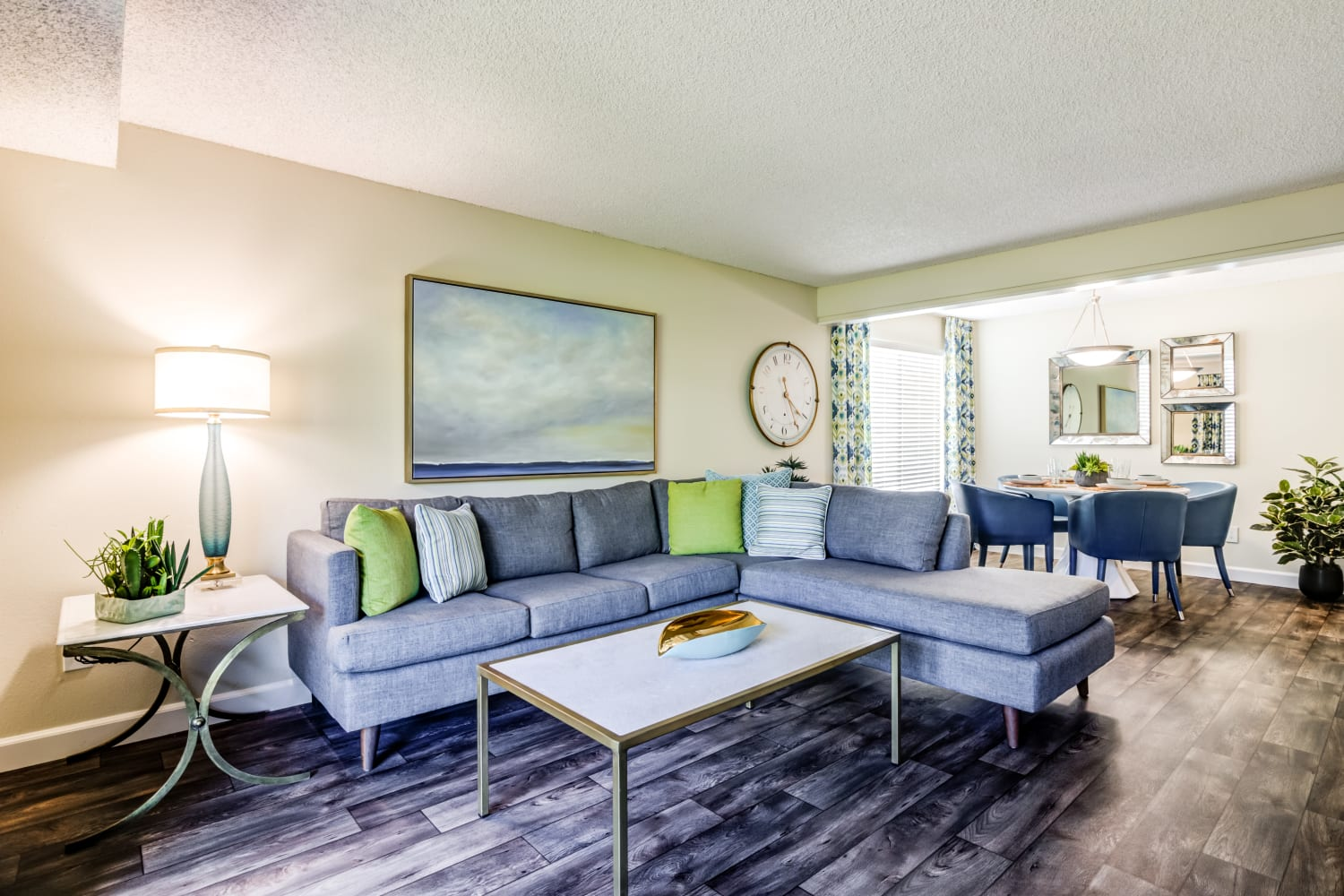 Well decorated living room at Edgewood Park Apartments in Bellevue, Washington