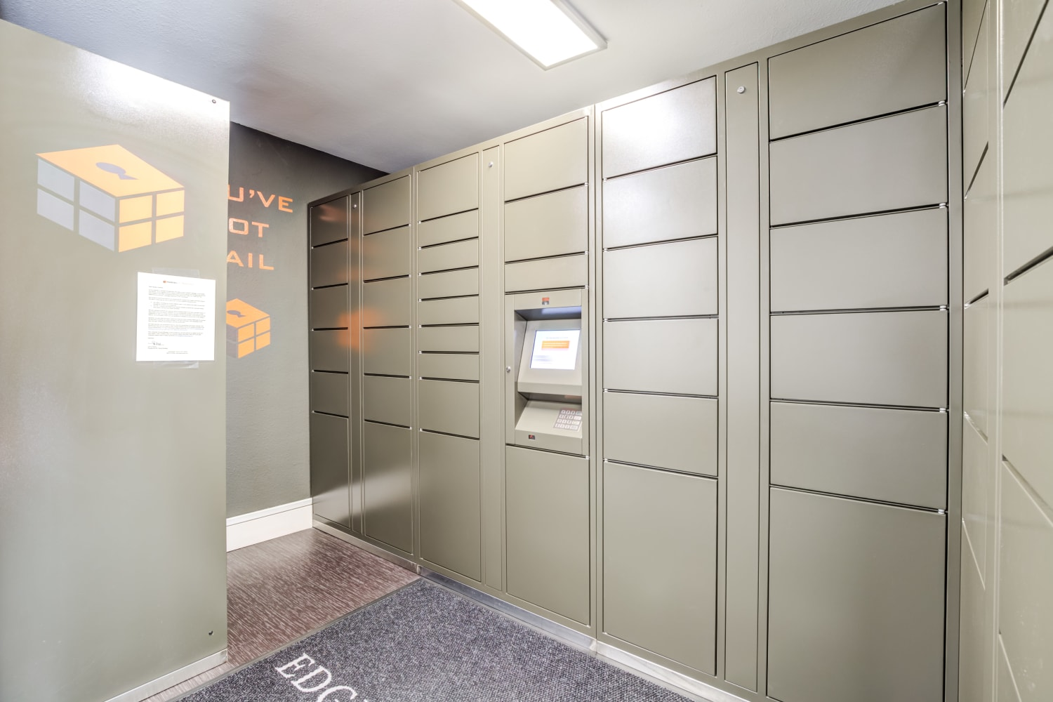 Mailroom and parcel pickup center at Edgewood Park Apartments in Bellevue, Washington