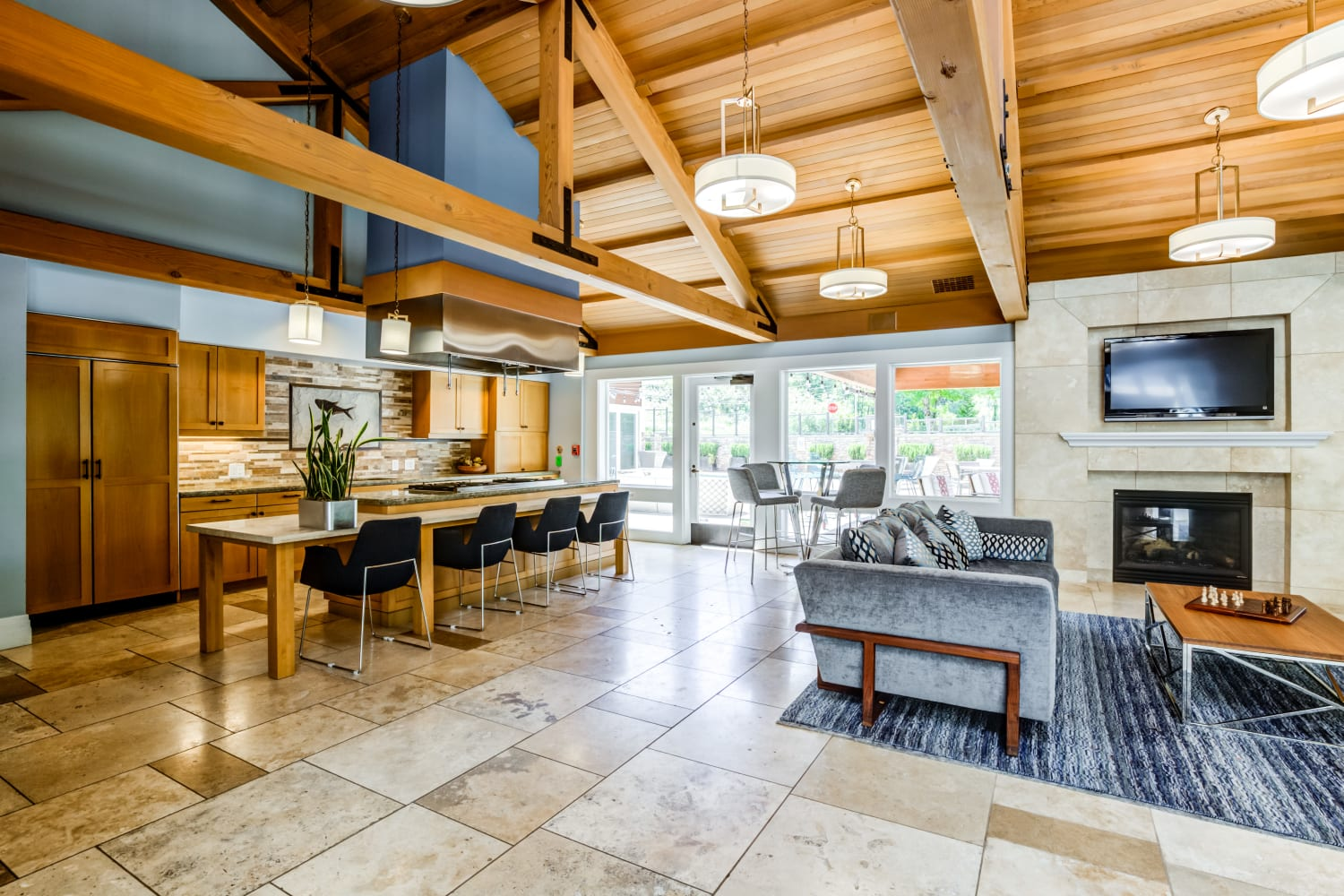 Interior of community Clubhouse at The Preserve at Forbes Creek in Kirkland, Washington
