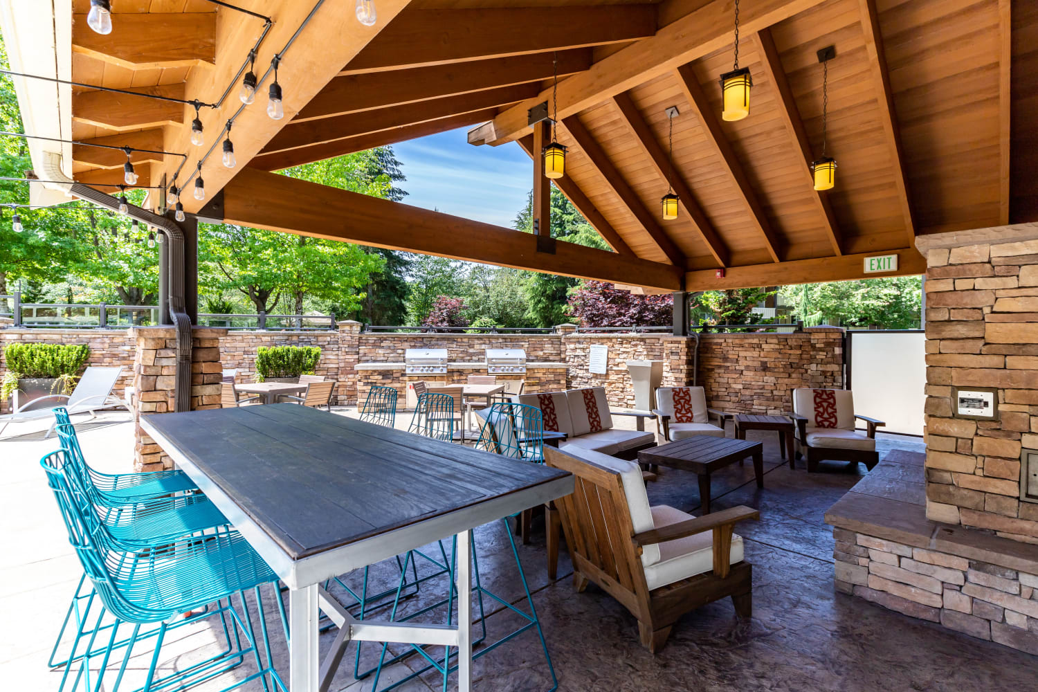 Relaxing patio area at The Preserve at Forbes Creek in Kirkland, Washington