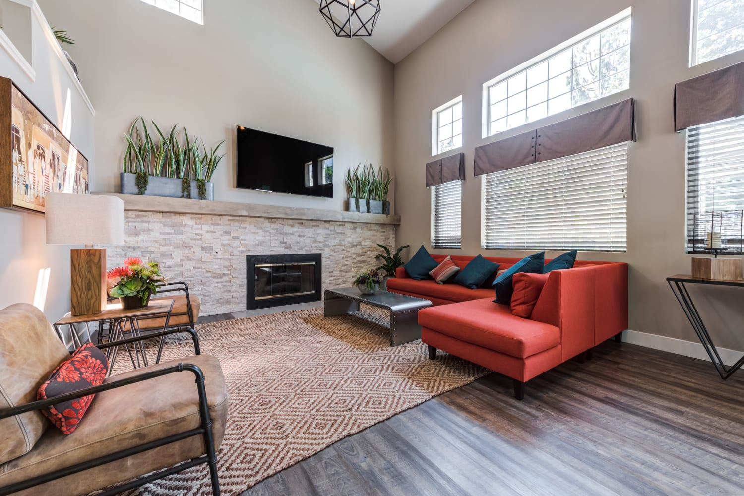 Well appointed interior decor is a feature of the clubhouse at Sierra Heights Apartments in Rancho Cucamonga, CA