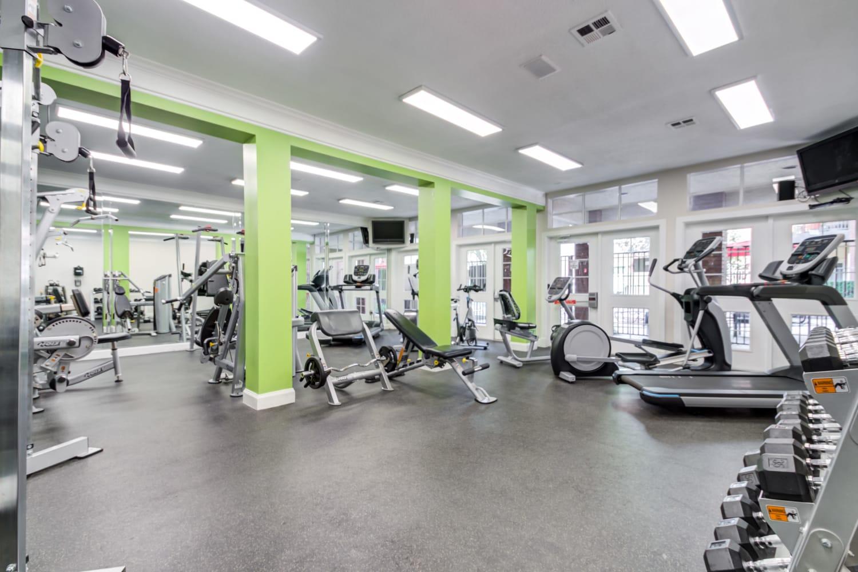 Modern exercise equipment in the fitness center at Irving Schoolhouse Apartments in Salt Lake City, Utah