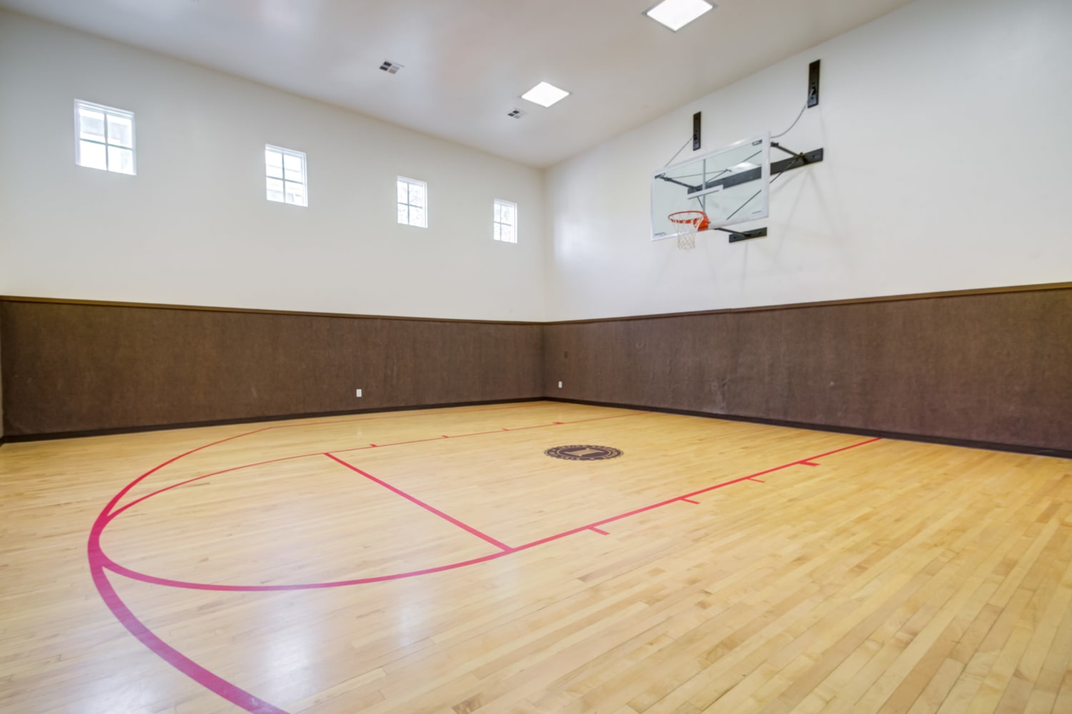Indoor basketball facility at Irving Schoolhouse Apartments in Salt Lake City, Utah